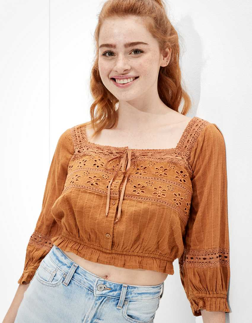 AE Lace Puff-Sleeve Blouse