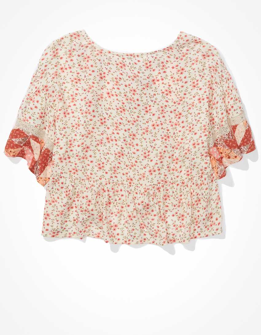 AE Floral Lace-Up Flutter-Sleeve Blouse