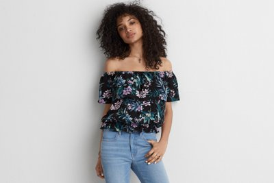 Off-the-Shoulder Bubble Top