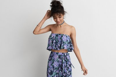Floral Ruffle Tube Top