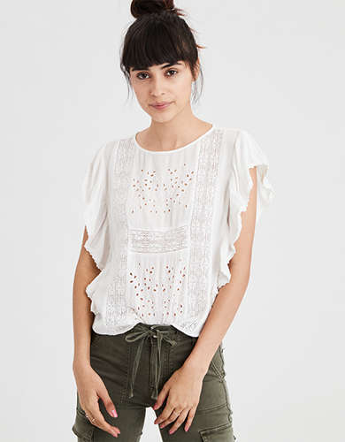 AE Embroidered Panel Shell Top