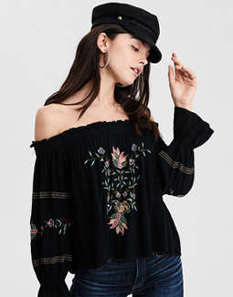 Ae Embroidered Off The Shoulder Top by American Eagle Outfitters