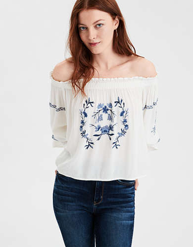 AE Embroidered Off-The-Shoulder Top