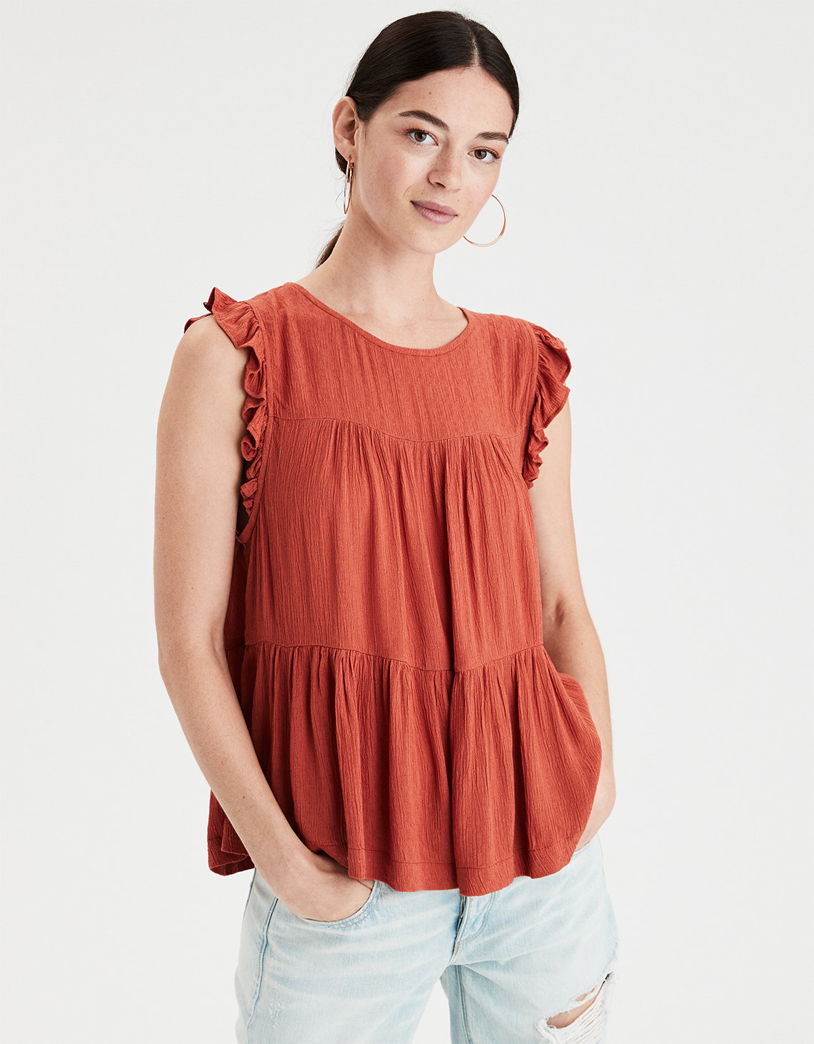 ae high neck shell top, orange