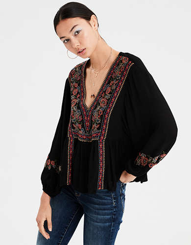 AE Long Sleeve Embroidered Top