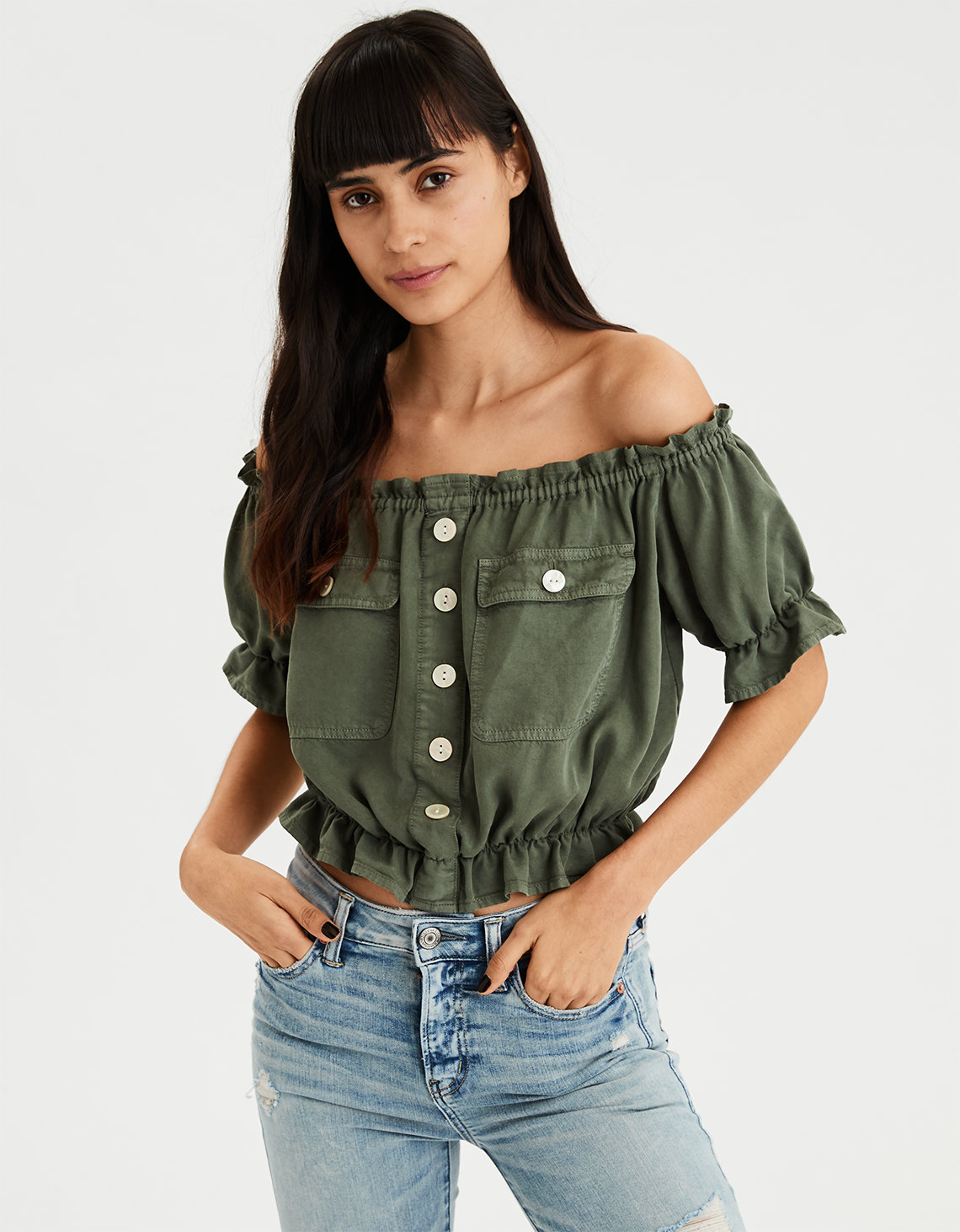 45ead0a3278dc9 AE Utility Off-The-Shoulder Top. Placeholder image. Product Image