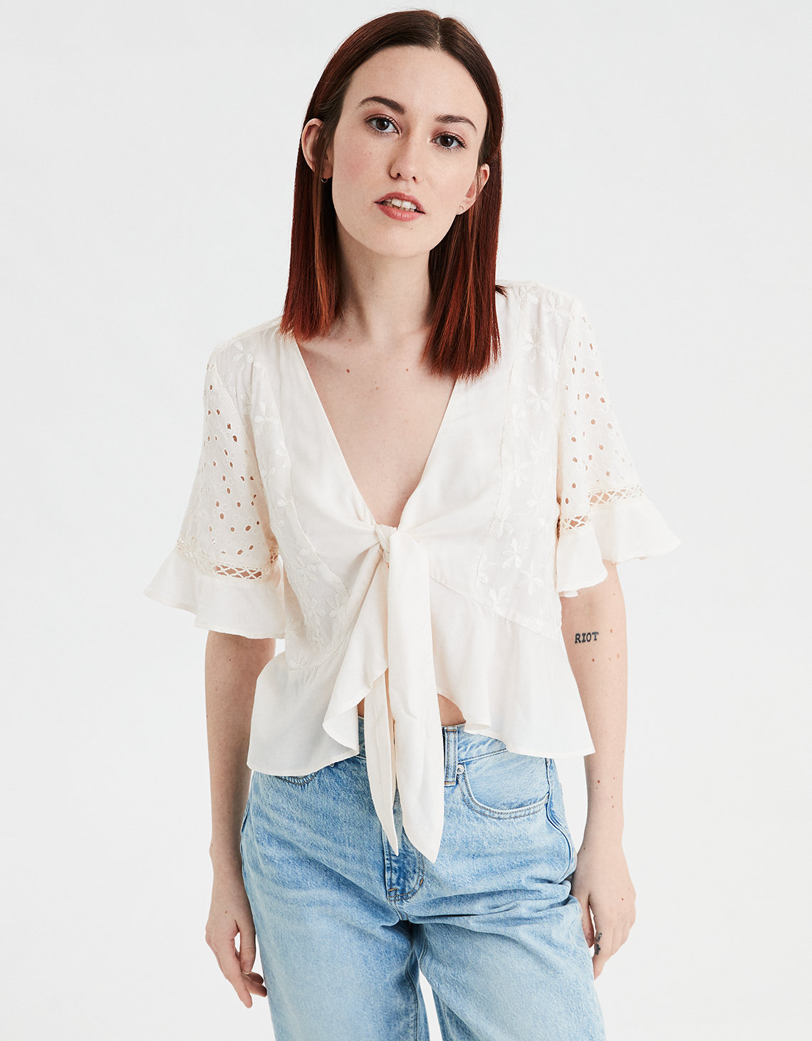 AE Embroidered Tie Front Top