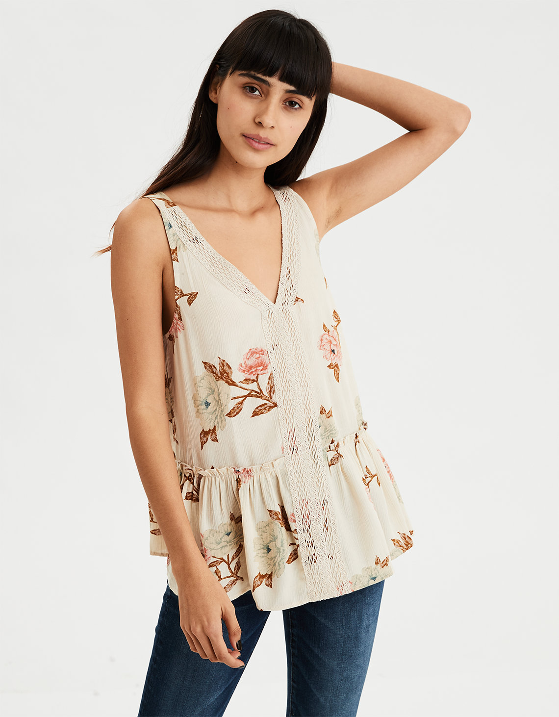 f69bc8e914a970 AE Floral Lace Inset Shell Top. Placeholder image. Product Image