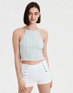 AE Cropped Plaid Halter Top