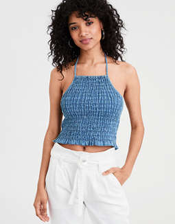AE Tencel Smocked Halter Top