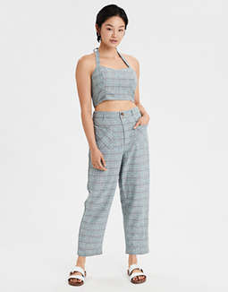 AE Plaid Ruched Halter Top