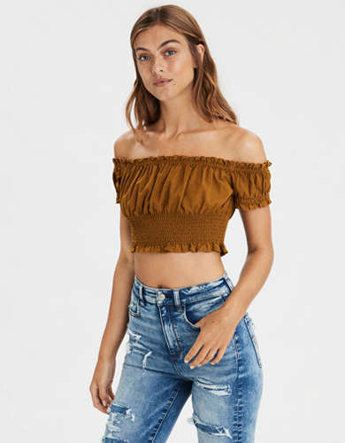 Ae Off-The-Shoulder Smocked Crop Top