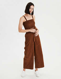 AE Smocked Corduroy Crop Top