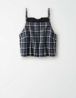 AE Plaid High Neck Crop Top