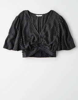 AE Striped Flutter Sleeve Top