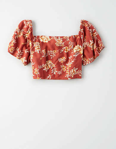 AE Printed Square Neck Ruffle Sleeve Crop Top