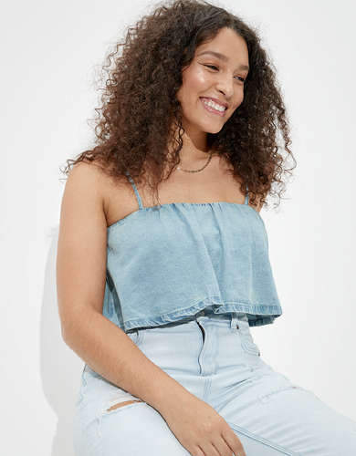 AE Denim Tie Back Tube Top