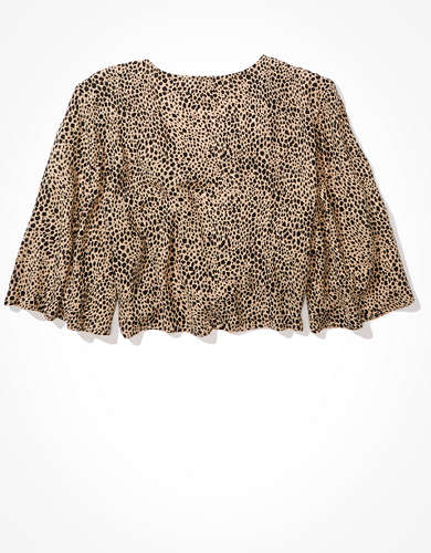 AE Printed Tie Front Top