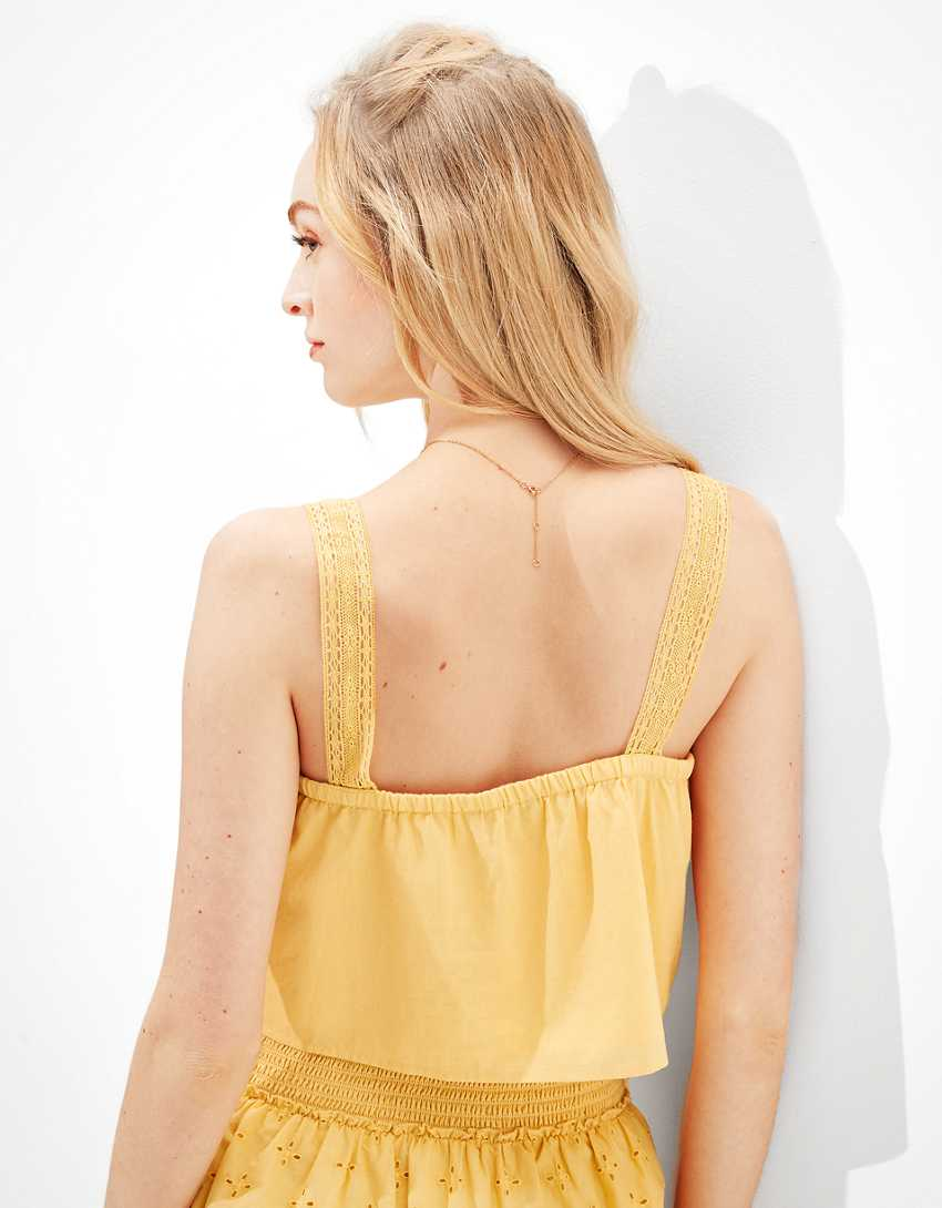 AE Cropped Button-Up Tank Top