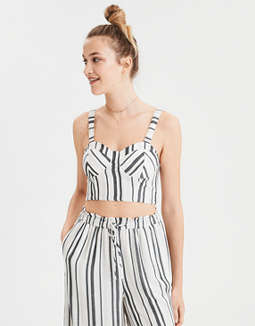 Ae Striped &Amp; Structured Corset Top by American Eagle Outfitters