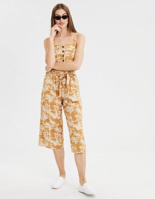 12c2af51d7c3 Button Front Crop Top, American Eagle, $25, and High-Waisted Paperbag  Culotte, American Eagle, $40; shop now