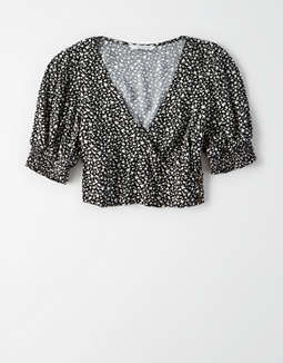 Ae Short Sleeve Wrap Front Crop Top by American Eagle Outfitters