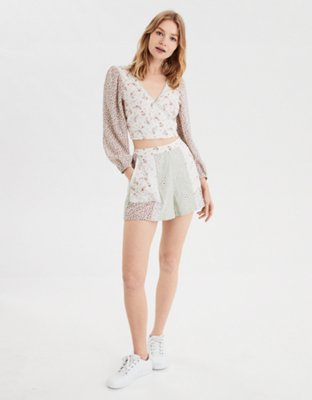 Ae Printed Wrap Front Shirt by American Eagle Outfitters