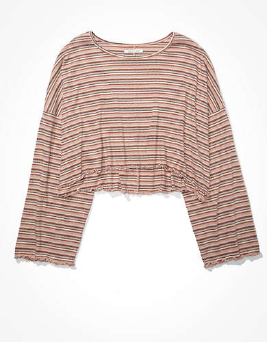 AE Striped Bell Sleeve Crop Top