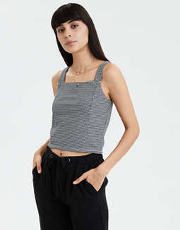 AE Square Neck Gingham Crop Top
