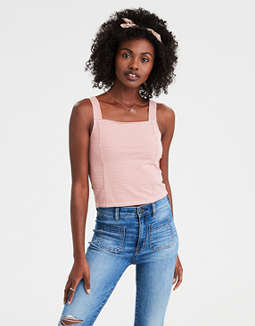 Ae Square Neck Gingham Crop Top by American Eagle Outfitters