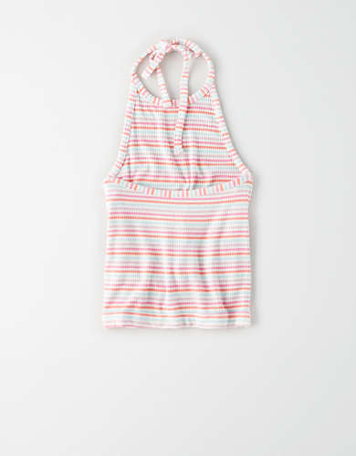 AE Soft & Sexy Striped Cropped Halter Top