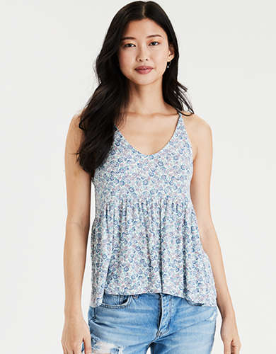 AE Soft & Sexy V-Neck Peplum Tank Top