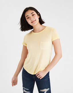 Ae Soft &Amp; Sexy Crew Neck Pocket T Shirt by American Eagle Outfitters