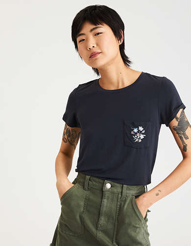 AE Soft & Sexy Embroidered Pocket Tee