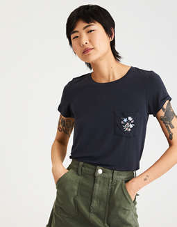 Ae Soft &Amp; Sexy Embroidered Pocket Tee by American Eagle Outfitters