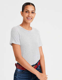 Ae Soft & Sexy Ribbed Crew Neck T Shirt by American Eagle Outfitters