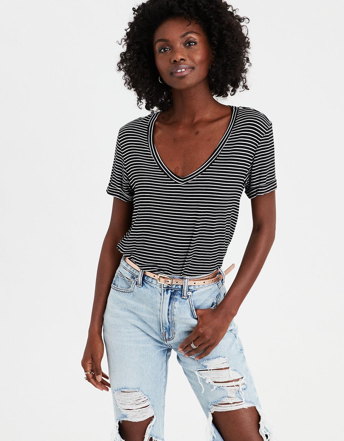63617fc3169 AE V-Neck Striped Favorite T-Shirt