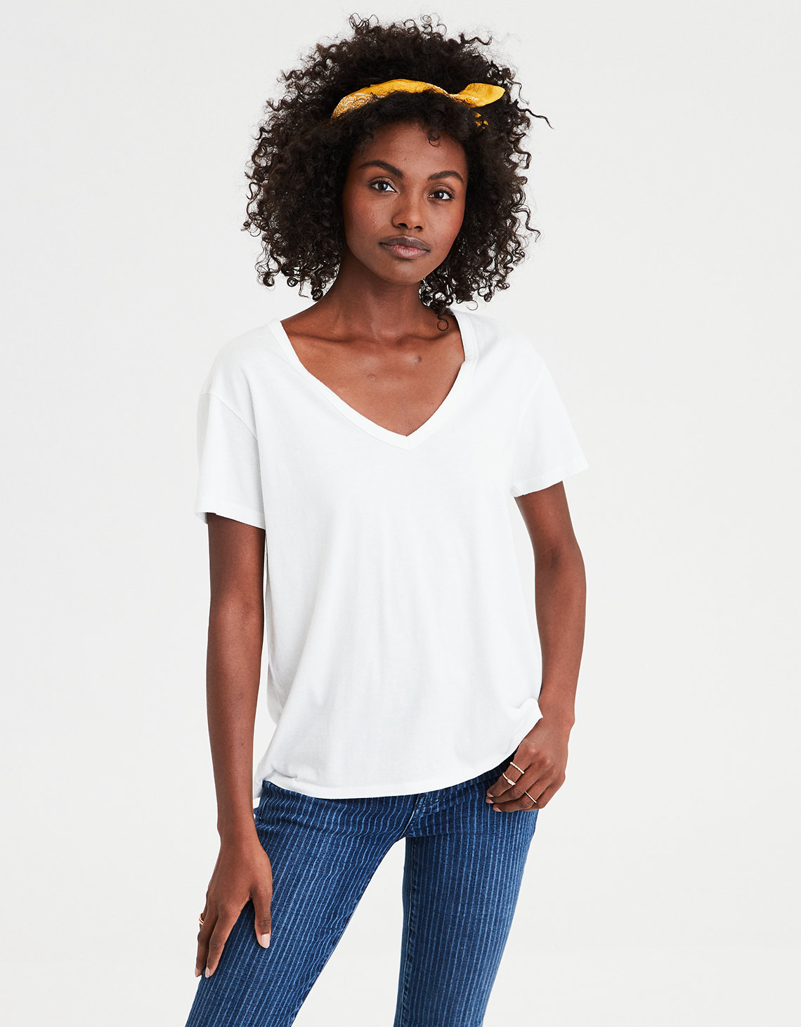 2c58dfbfba06 AE V-Neck Tee, Natural White | American Eagle Outfitters