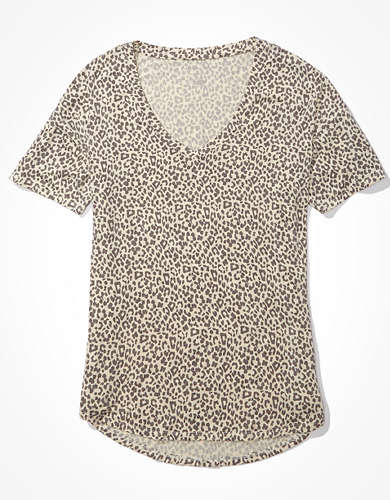 AE Oversized Soft & Sexy Leopard V-Neck T-Shirt