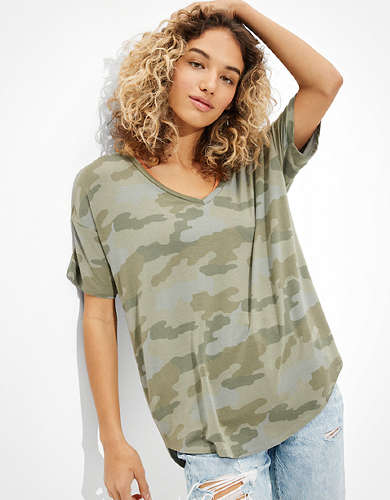 AE Oversized Soft & Sexy Camo V-Neck T-Shirt