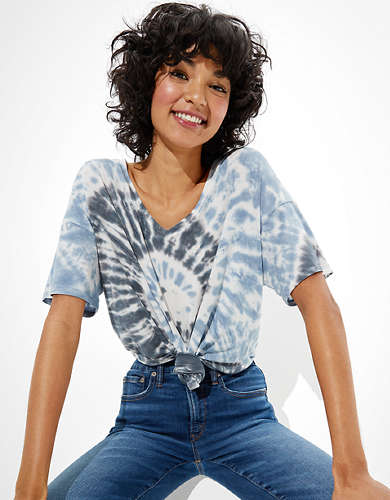 AE Oversized Soft & Sexy Tie-Dye V-Neck T-Shirt