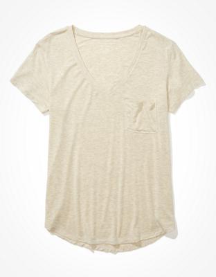 AE Oversized Soft & Sexy V-Neck Pocket T-Shirt