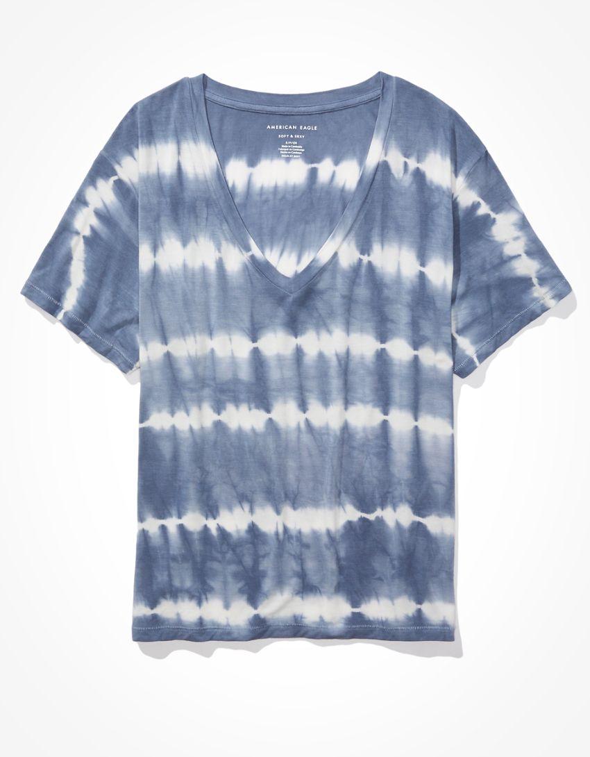 AE Oversized Soft & Sexy Tie-Dye V-Neck T-Shirt