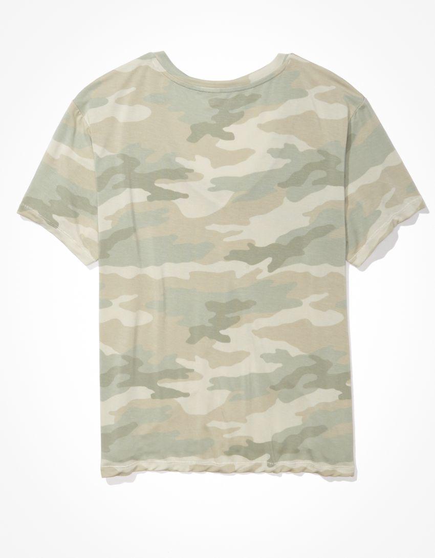 AE Oversized Soft & Sexy Camo V-Neck T-Shirt