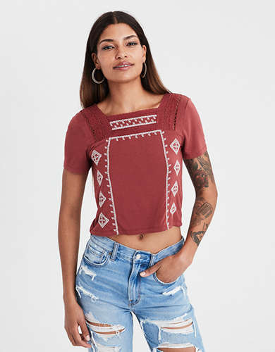 AE Soft & Sexy Embroidered Lace Trim Top