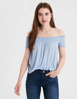 Ae Soft & Sexy Smocked Off The Shoulder Top by American Eagle Outfitters