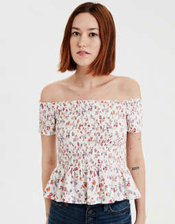 AE Off-The-Shoulder Smocked Peplum Floral T-shirt