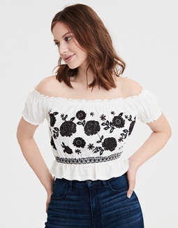 AE Off The Shoulder Embroidered T-shirt