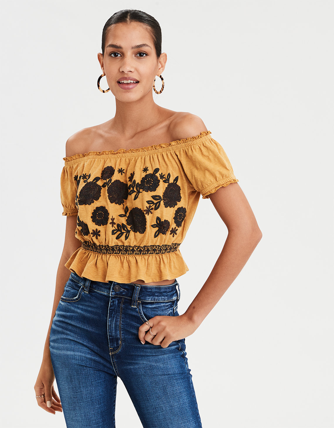 f5a8fcf084cdd AE Off The Shoulder Embroidered Tee. Placeholder image. Product Image