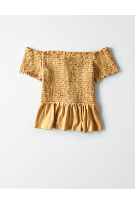 568cd713 AE Off-The-Shoulder Smocked Peplum T-shirt, Yellow | American Eagle ...